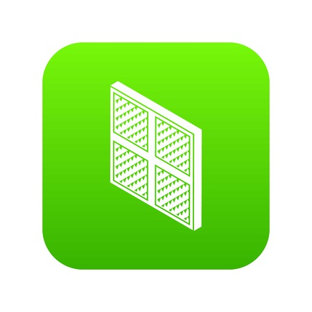 Square window frame icon green vector isolated on white background.