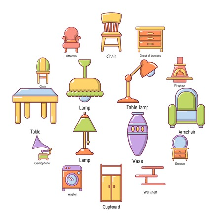 Interior furniture icons set. Cartoon illustration of 16 interior furniture vector icons for web.