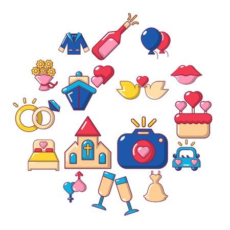 Wedding icons set. Cartoon illustration of 16 wedding vector icons for web.