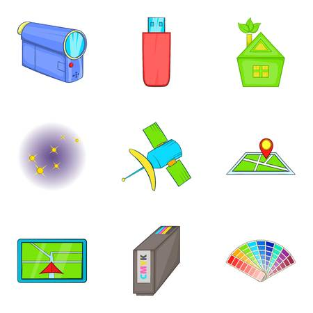 Cordless tech icons set. Cartoon set of 9 cordless tech vector icons for web isolated on white background. 일러스트