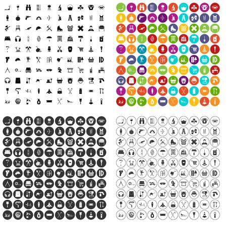 100 outfit icons set vector in 4 variant for any web design isolated on white. Ilustração