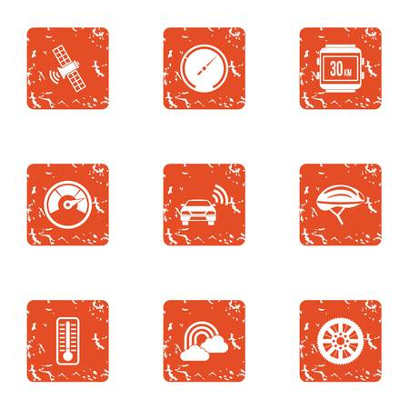 Cosmic wireless icons set. Grunge set of 9 cosmic wireless vector icons for web isolated on white background.