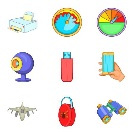 Cordless technology icons set. Cartoon set of 9 cordless technology vector icons for web isolated on white background. Vectores