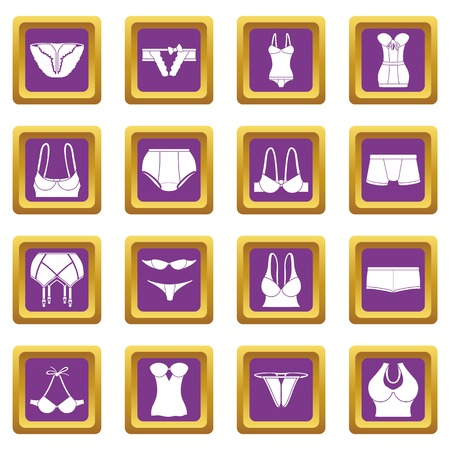 Underwear icons set vector purple square isolated on white background. Vettoriali
