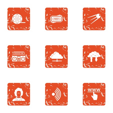 Wireless icons set. Grunge set of 9 wireless vector icons for web isolated on white background.