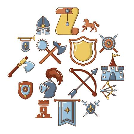 Knight medieval icons set. Cartoon illustration of 16 knight medieval vector icons for web.