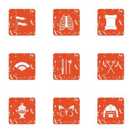 Conjunto de iconos de guerra medieval. Conjunto de grunge de 9 iconos de vector de guerra medieval para web aislado sobre fondo blanco.