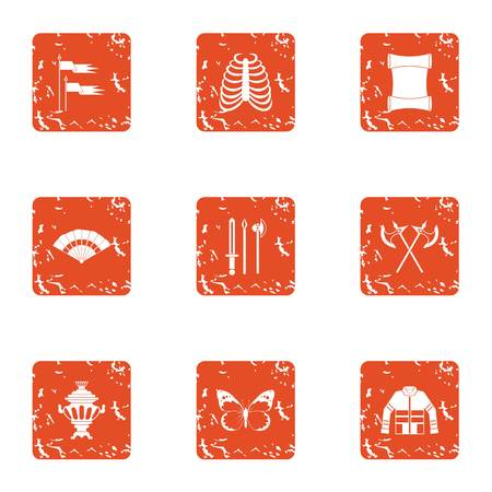 Medieval war icons set. Grunge set of 9 medieval war vector icons for web isolated on white background.