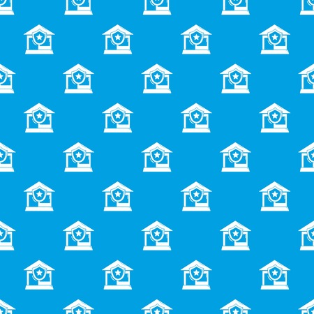 House protection pattern vector seamless blue repeat for any use