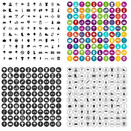 100 park icons set vector in 4 variant for any web design isolated on white