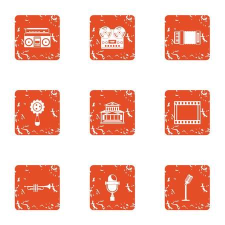 Vintage music icons set. Grunge set of 9 vintage music vector icons for web isolated on white background Illustration
