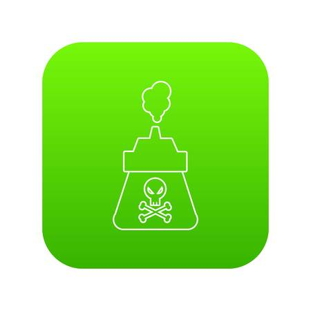 Poison icon green vector isolated on white background.
