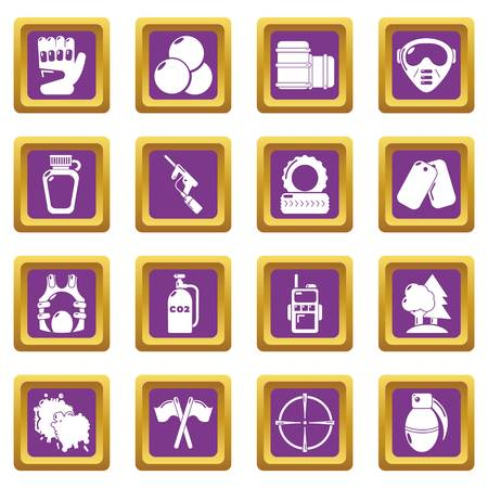Paintball icons set vector purple square isolated on white background.