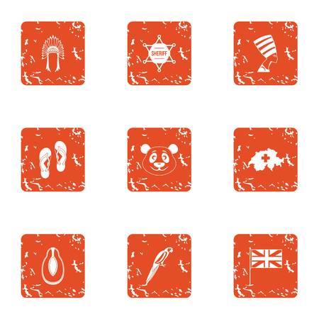 Far east trip icons set. Grunge set of 9 far east trip vector icons for web isolated on white background