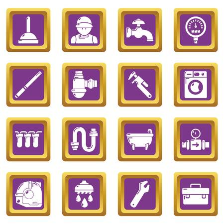 Plumber symbols icons set vector purple square isolated on white background