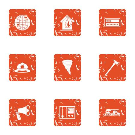 Fire danger icons set. Grunge set of 9 fire danger vector icons for web isolated on white background Illustration