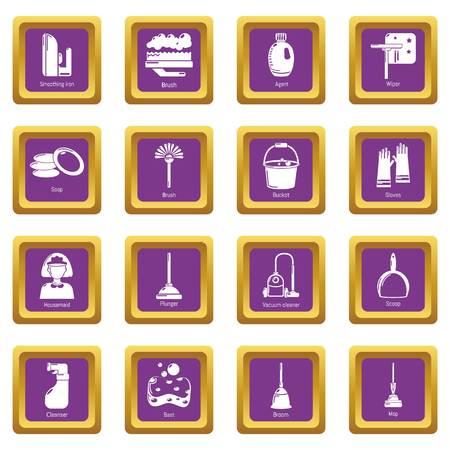 Icônes d'outils de nettoyage set vector carré violet isolé sur fond blanc