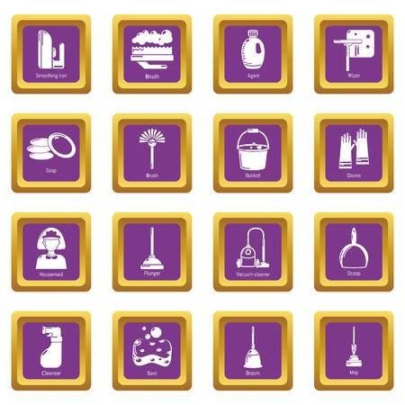 Cleaning tools icons set vector purple square isolated on white background Illustration