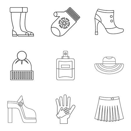 Womanlike icons set. Outline set of 9 womanlike vector icons for web isolated on white background 矢量图像