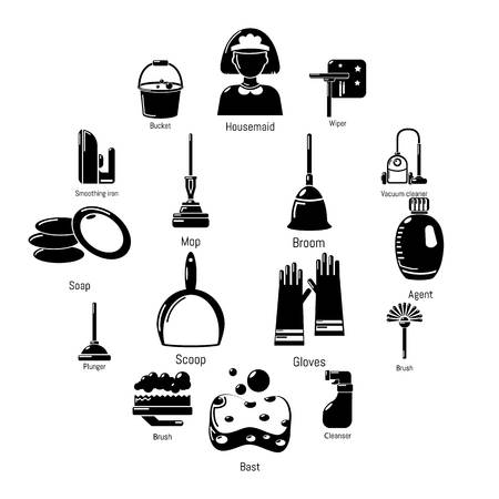 Cleaning tools icons set. Simple illustration of 16 cleaning tools vector icons for web