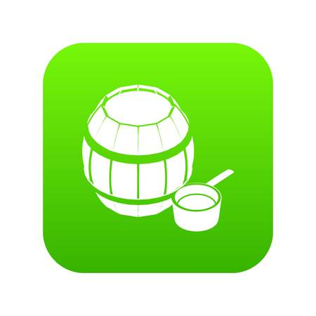 Barrel honey icon green vector isolated on white background Illustration