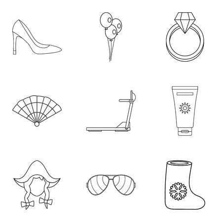 Lovely girl icons set. Outline set of 9 lovely girl vector icons for web isolated on white background 矢量图像