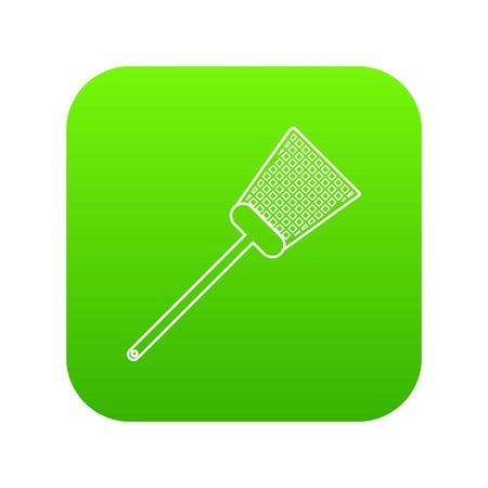 Swatter icon green vector isolated on white background Illustration