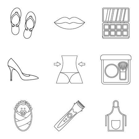 Gal icons set. Outline set of 9 gal vector icons for web isolated on white background