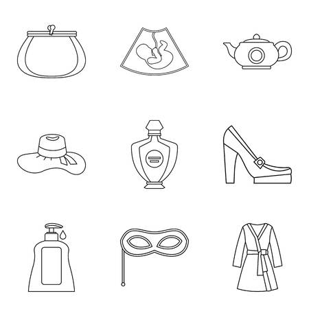 Frau icons set. Outline set of 9 Frau vector icons for web isolated on white background. 矢量图像