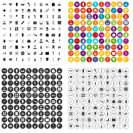100 pharmacy icons set vector in 4 variant for any web design isolated on white Illustration
