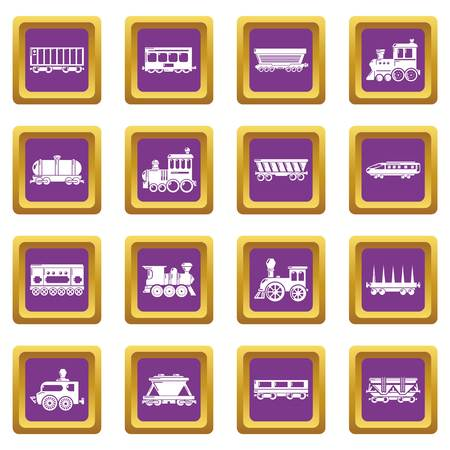 Railway carriage icons set vector purple square isolated on white background