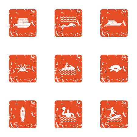 Cruise sport icons set. Grunge set of 9 cruise sport vector icons for web isolated on white background
