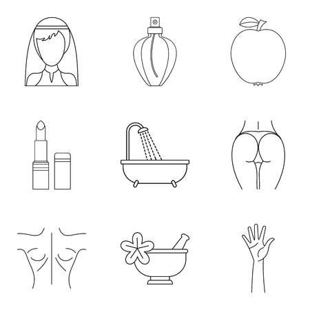 Beautiful girl icons set. Outline set of 9 beautiful girl vector icons for web isolated on white background