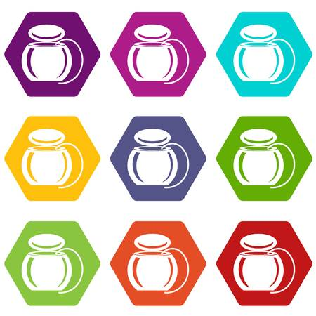 Dental floss icons 9 set coloful isolated on white for web
