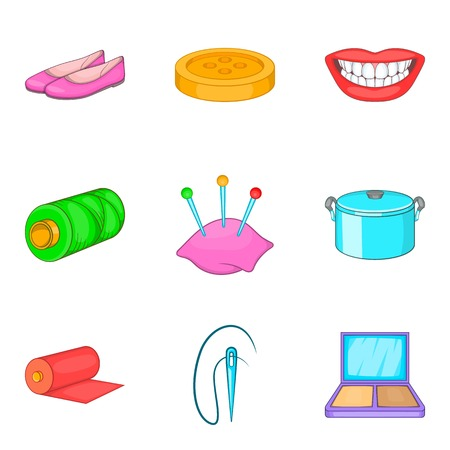 Charwoman icons set. Cartoon set of 9 charwoman vector icons for web isolated on white background Illustration
