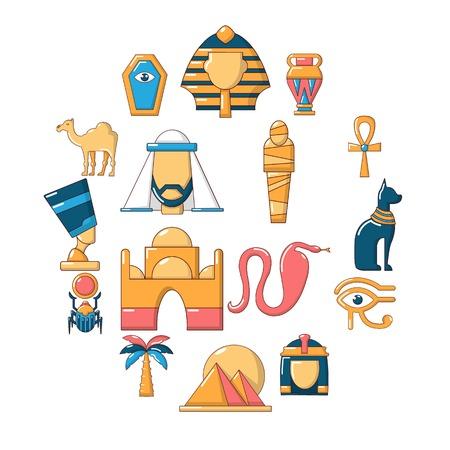 Egypt travel icons set. Cartoon illustration of 16 Egypt travel vector icons for web Illustration