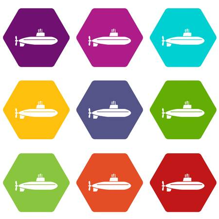 Large submarine icons 9 set coloful isolated on white for web