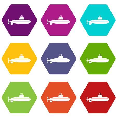 Large submarine icons 9 set coloful isolated on white for web