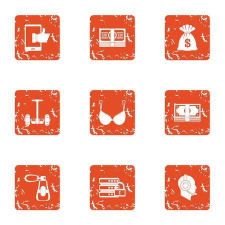 Money boost icons set. Grunge set of 9 money boost vector icons for web isolated on white background Illustration