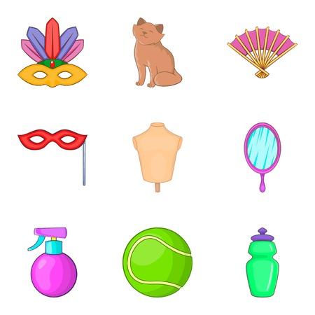 Women's accessories random icon set. Illustration