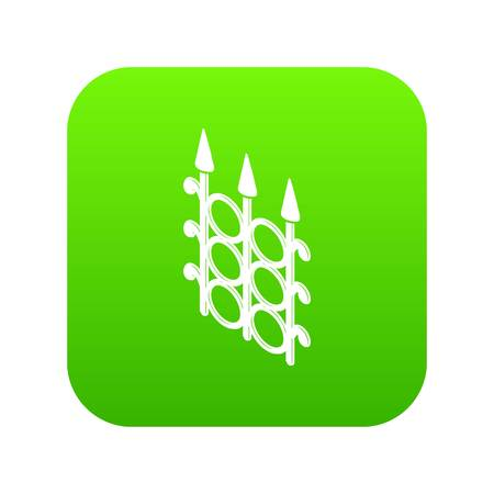 Metal fence icon on green square Illustration