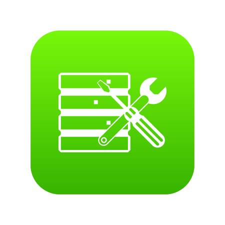 Database with screwdriver and spanner icon on digital green for any design.