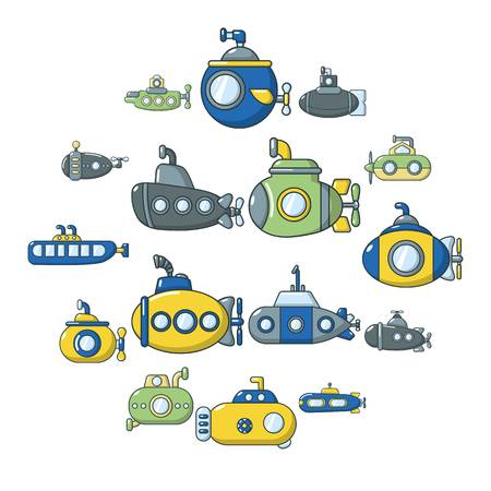 Submarine icons set. Cartoon illustration of 16 submarine vector icons for web