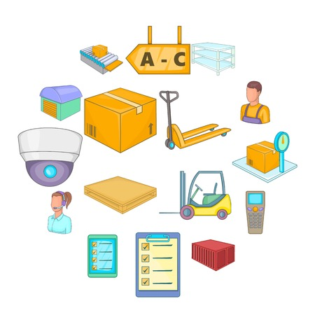 Warehouse store icons set. Cartoon illustration of  warehouse store vector icons for web Иллюстрация