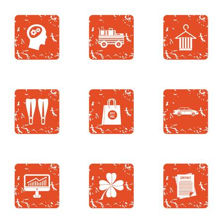 Contract icons set. Grunge set of contract vector icons for web isolated on white background