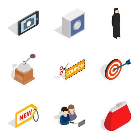 Damsel icons set. Isometric set of 9 damsel vector icons for web isolated on white background Ilustracja