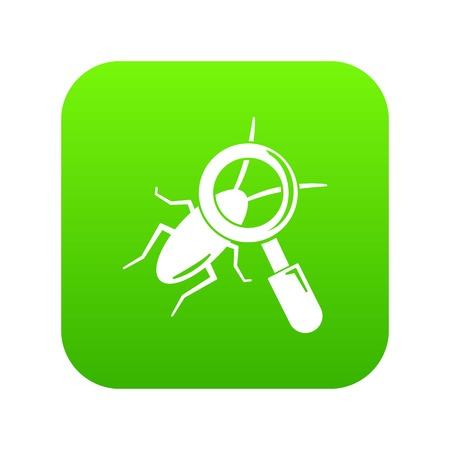 Search insect icon green vector isolated on white background