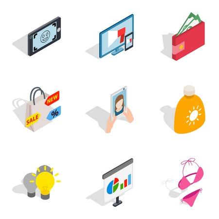 Missy icons set. Isometric set of missy vector icons for web isolated on white background Ilustracja