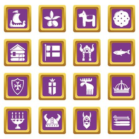 Sweden travel icons set vector purple square isolated on white background
