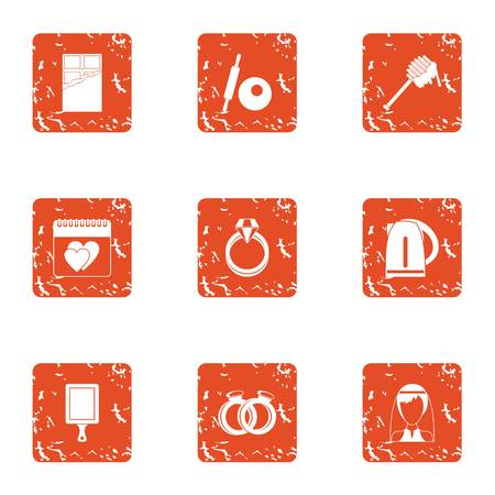 Charming icons set. Grunge set of charming vector icons for web isolated on white background Illustration